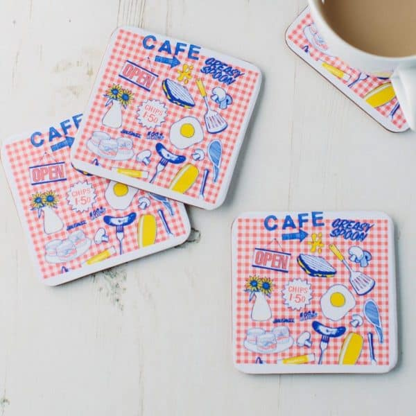 Drinks Coasters with Fish and Chips Design by Gillian Kylen