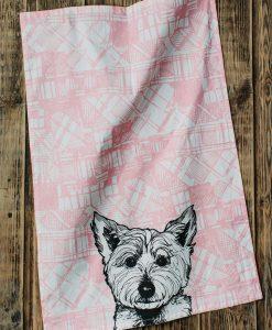 Scottish Kitchen Tea Towel with Tartan Westie Design by Gillian Kyle