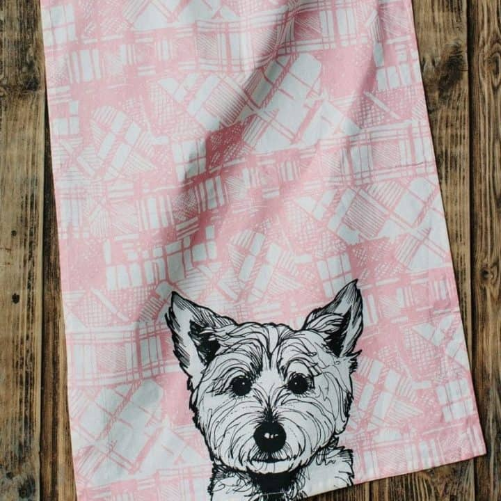 Scottish Kitchen Tea Towel with Tartan Westie Design by Gillian Kyle