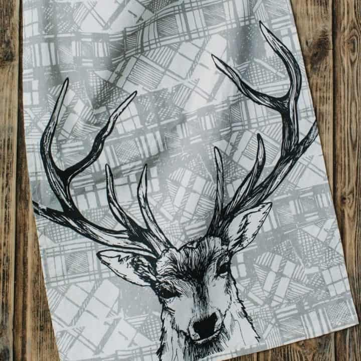 Kitchen Tea Towel with Tartan Stag Design by Gillian Kyle
