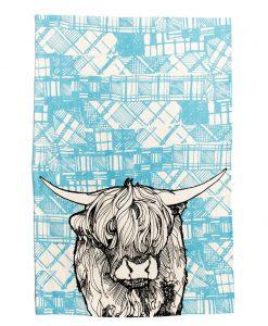 Kitchen Tea Towel with Tartan Highland Cow Design by Gillian Kyle