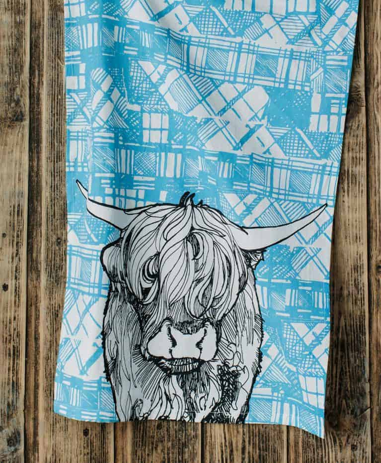 Kitchen Tea Towel with Tartan Highland Cow Design by Gillian Kyle