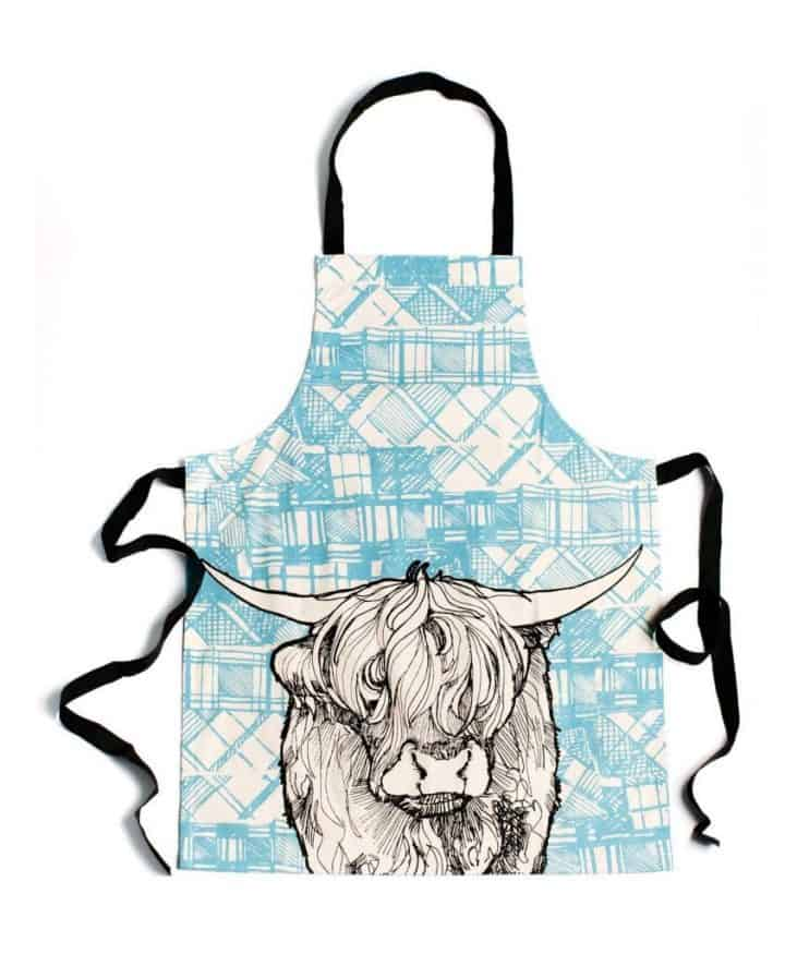 Kitchen Apron with Highland Cow Tartan Animals by Gillian Kyle