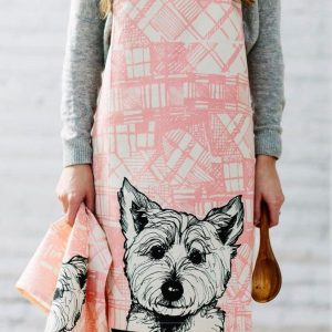 Kitchen Apron with Tartan Westie Design by Gillian Kyle on model