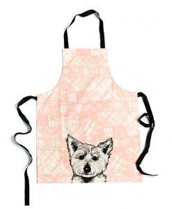 Kitchen Apron with Tartan Westie Design by Gillian Kyle