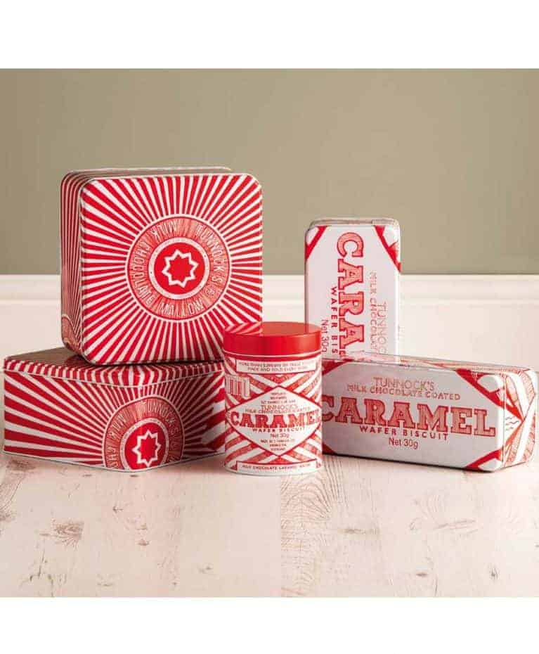 Bisucuit Tin with Tunnock's Caramel Wafer and Tea Cake Illustrations by Gillian Kyle