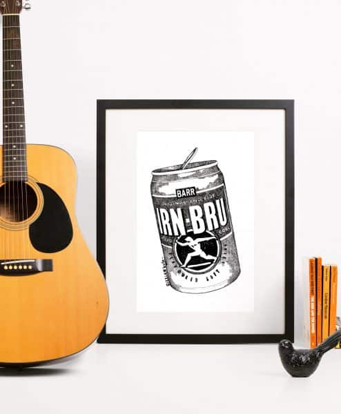 Framed Irn Bru Wall Art Print by Gillian Kyle