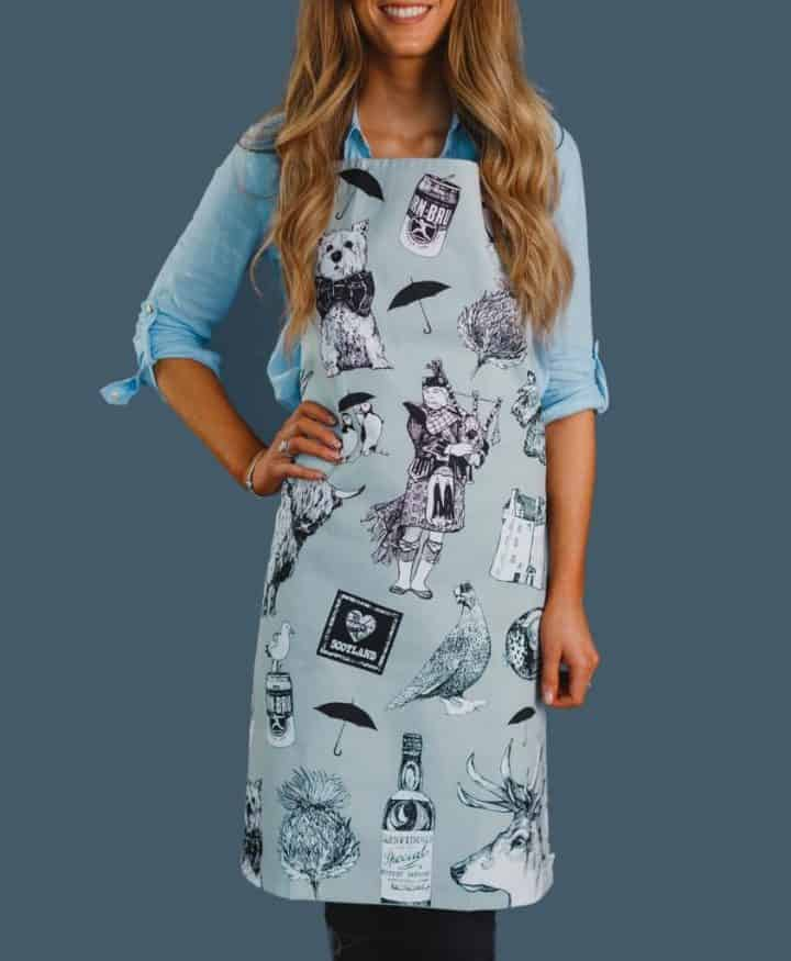 Kitchen Apron with Love Scotland Design by Gillian Kyle on Model