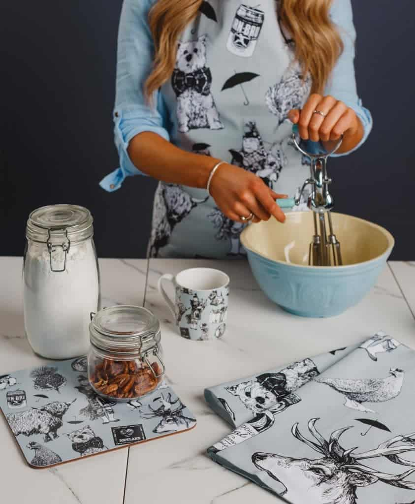 Kitchen Tea Towel and Aprons with Love Scotland Design by Gillian Kyle