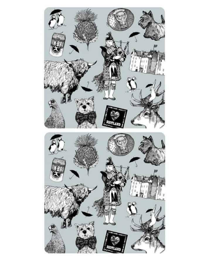 Gillian Kyle, Love Scotland, Set Of 2 Placemats, Highland Cow, Scottish Westie, Puffin, Irn Bru