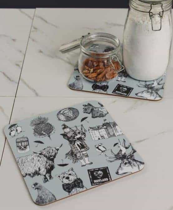 Gillian Kyle, Love Scotland, Set Of 2 Placemats, Highland Cow, Scottish Westie, Puffin, Irn Bru