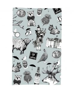 Kitchen Tea Towel with Love Scotland Design by Gillian Kyle