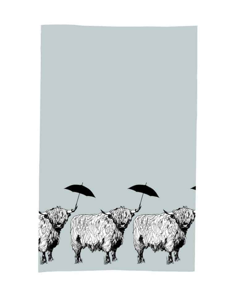 Kitchen Tea Towel with Dougal The Highland Cow Love Scotland Design by Gillian Kyle