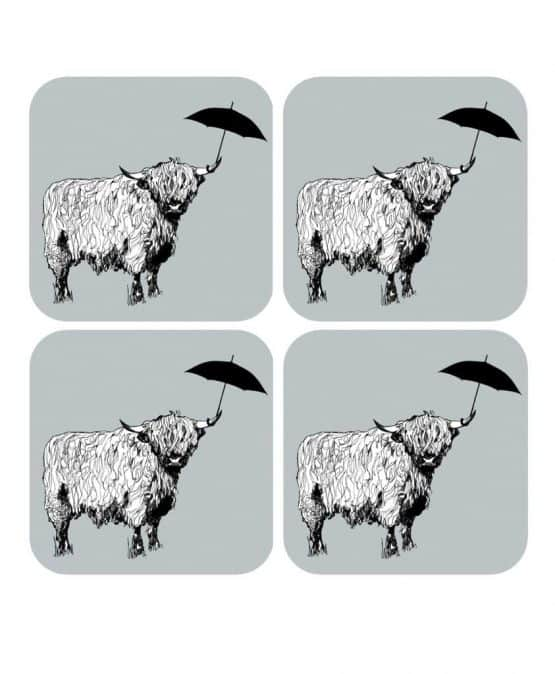 Set of Four Drinks Coasters with Highland Cow Design by Gillian Kyle