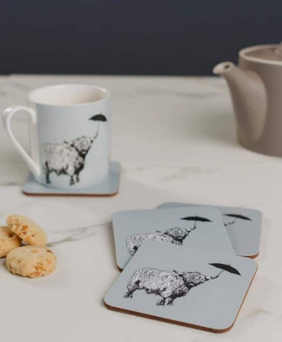 Set of Four Drinks Coasters and Coffee Mug with Highland Cow Design by Gillian Kyle