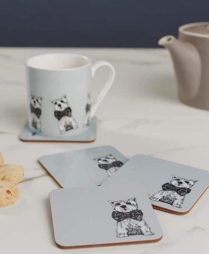 Drinks Coasters and Coffee Mugs with Archie the Westie dog