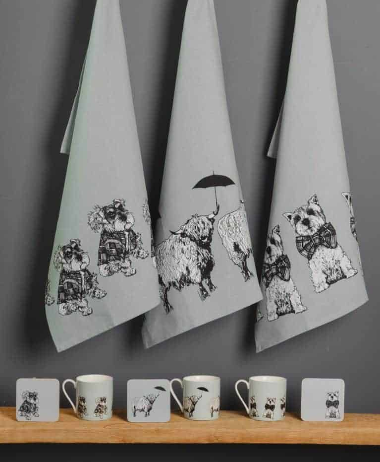 Tea Towles, Coasters and Fine Bone China Mugs from Love Scotland Range by Gillian Kyle