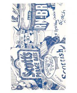 Kitchen Tea Towel with Scottish Breakfast illustration from Gillian Kyle (zoom)