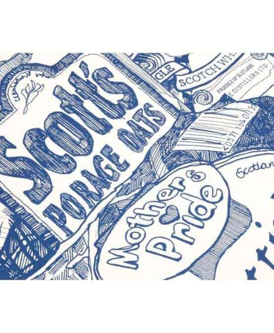 Kitchen Tea Towel with Scottish Breakfast illustration by Gillian Kyle (zoom)