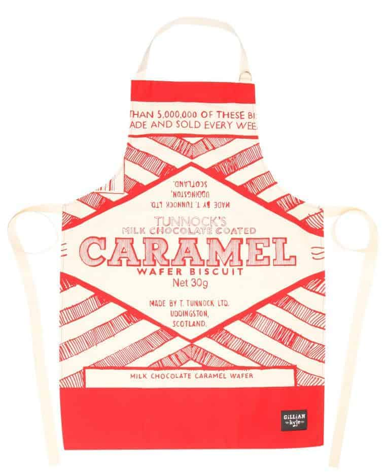 Kitchen Apron with Tunnock's Caramel Wafer illustration by Gillian Kyle