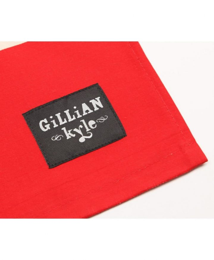 Gillian Kyle Branding Label on Kitchen Tea Towel Red