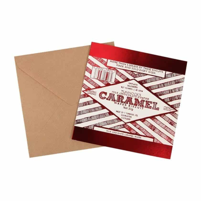 Tunnock's Caramel Foil Greeting Card by Gillian Kyle