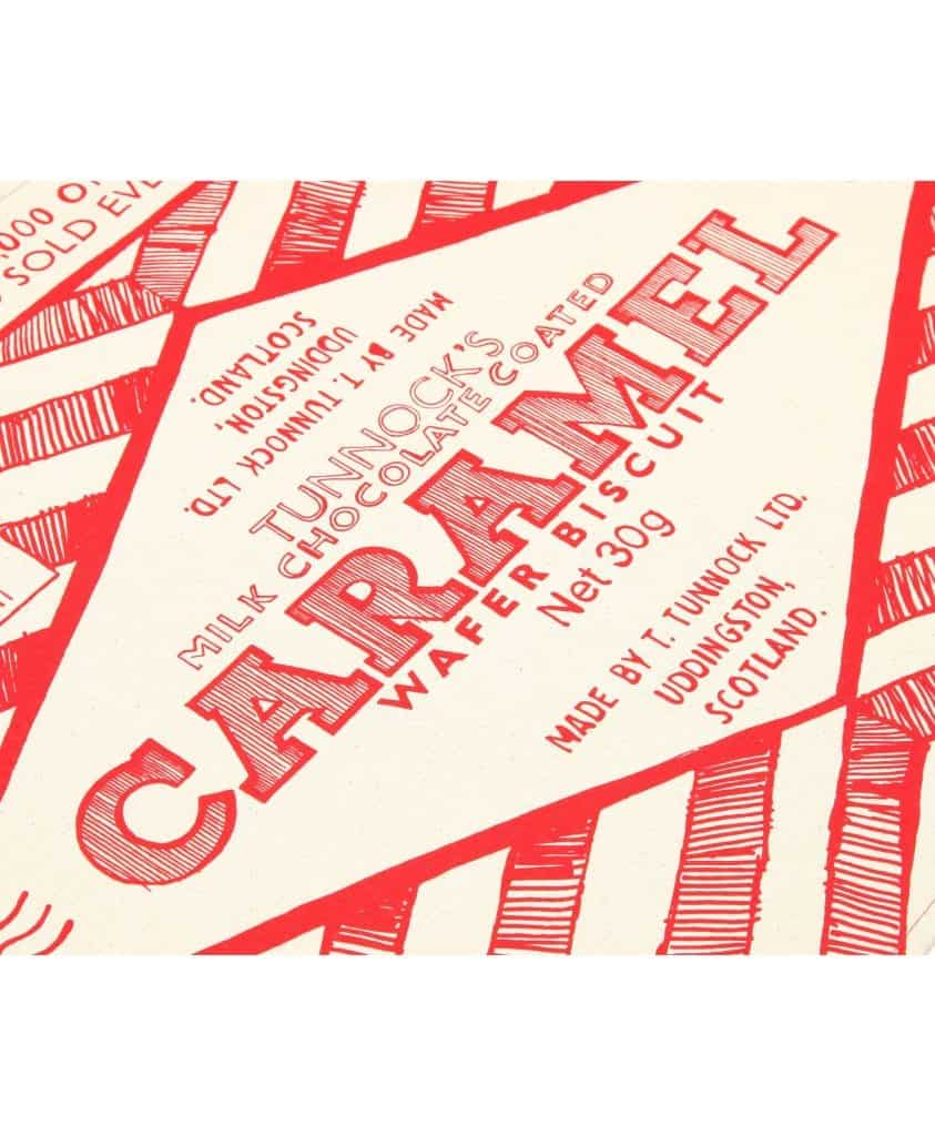 Kitchen Tea Towel with Tunnock's Caramel Wrapper design by Gillian Kyle (zoom)