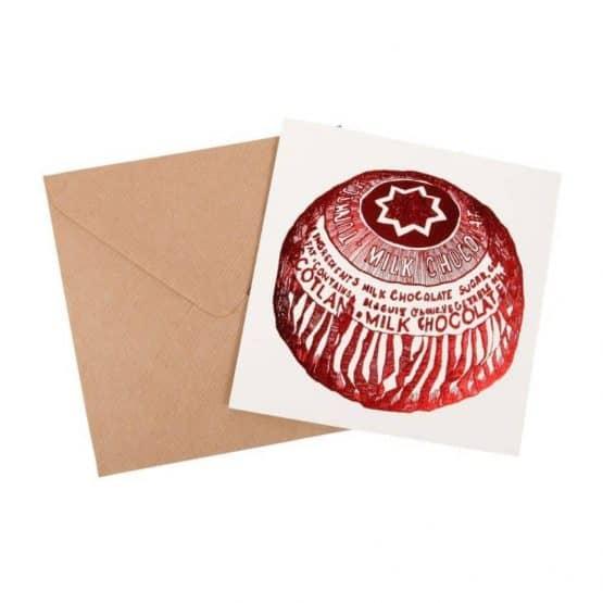 Tunnock's Tea Cake Foil Greeting Card by Gillian Kyle