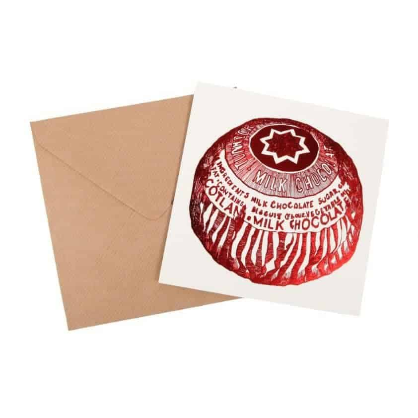Tunnock's Tea Cake Foil Greeting Card by Gillian Kyle