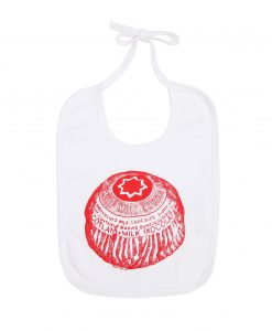 Baby Bib with Tunnock's Teacake design by Gillian Kyle