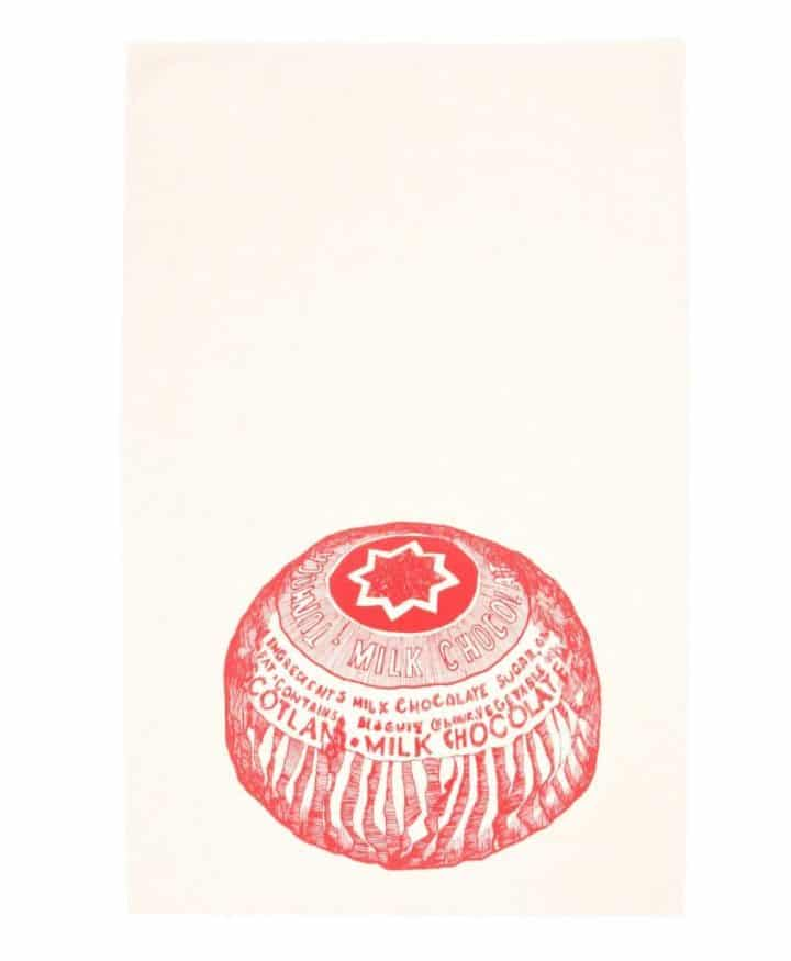 Kitchen Tea Towel with Tunnock's Teacake design by Gillian Kyle