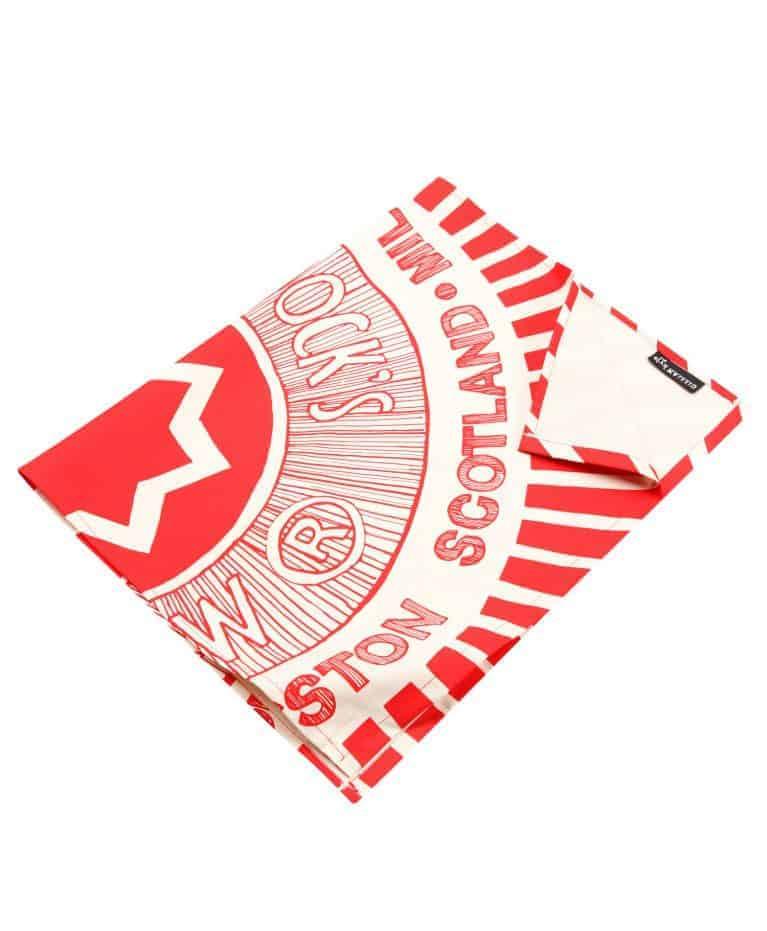 Kitchen Tea Towel with Tunnock's Teacake illustration by Gillian Kyle (folded)