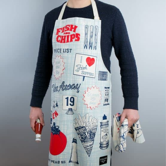 Fish and chips apron by Gillian Kyle