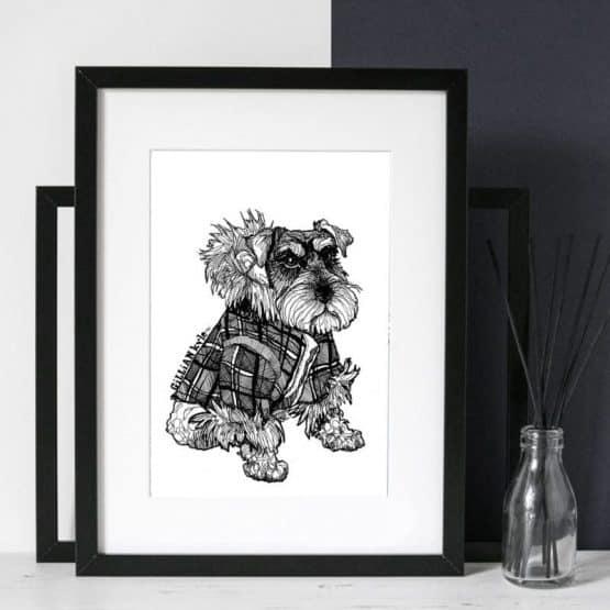 hand drawn illustrative scottie dog print by Gillian Kyle