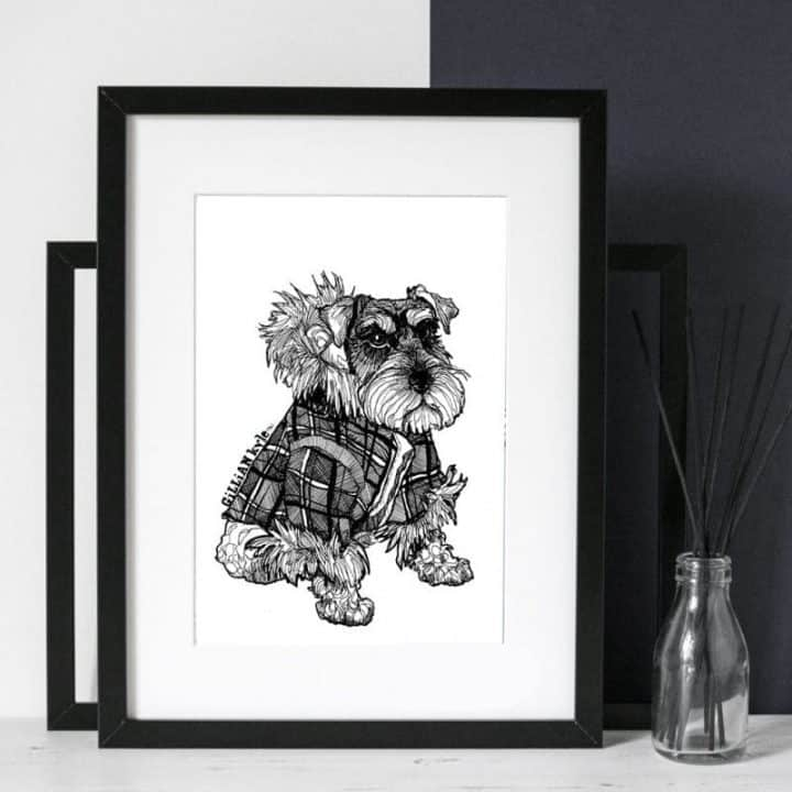 hand drawn illustrative scottie dog print by Gillian Kyle