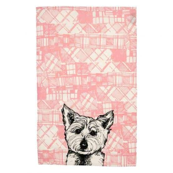 Gillian Kyle, Scottish breakfast textiles, Scottish tea towels, Scottish westie, cotton, tartan print detail