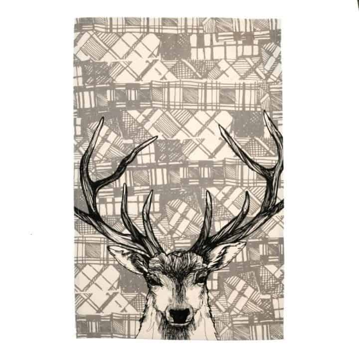 Gillian Kyle, Scottish breakfast textiles, Scottish tea towels, Scottish stag, tartan print detail