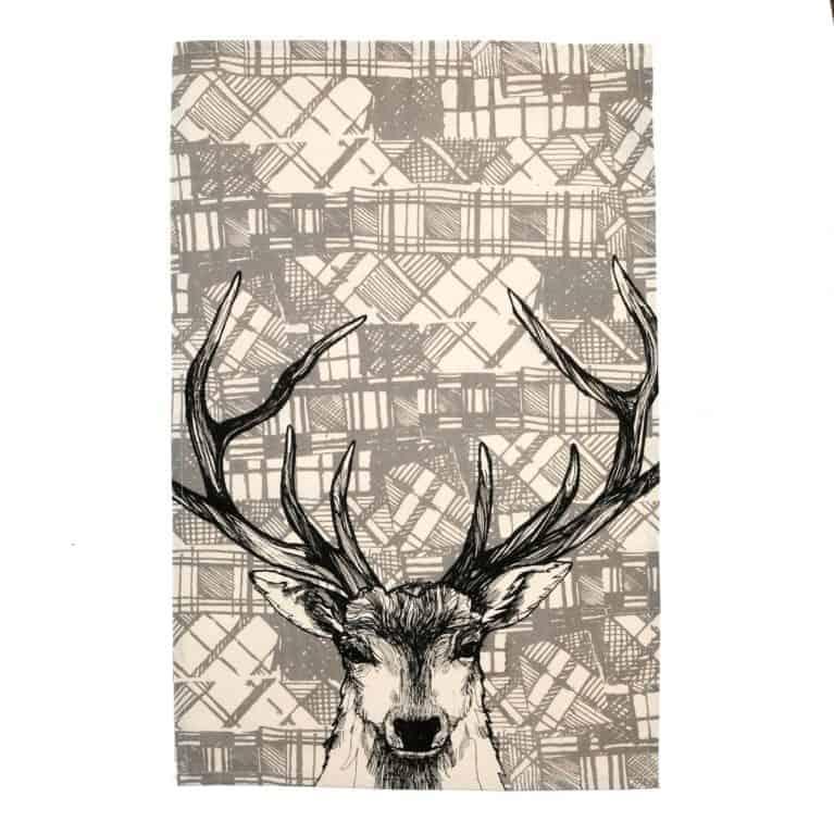 Gillian Kyle, Scottish breakfast textiles, Scottish tea towels, Scottish stag, tartan print detail