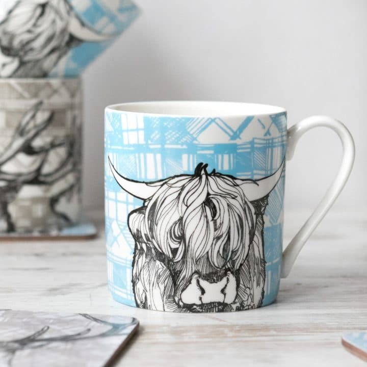 gillian kyle, scottish mugs and cups, tartan animals, tartan coo, highland cow mug