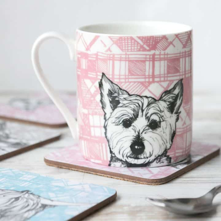 gillian kyle, scottish mugs and cups, tartan animals, tartan westie mug