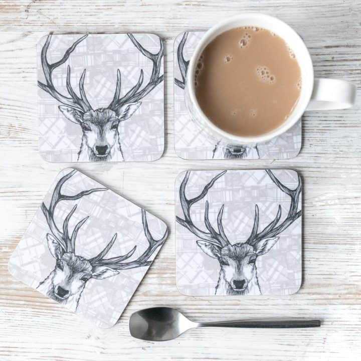 Gillian Kyle, tartan stag, set of 4, Scottish coasters, Scottish stag