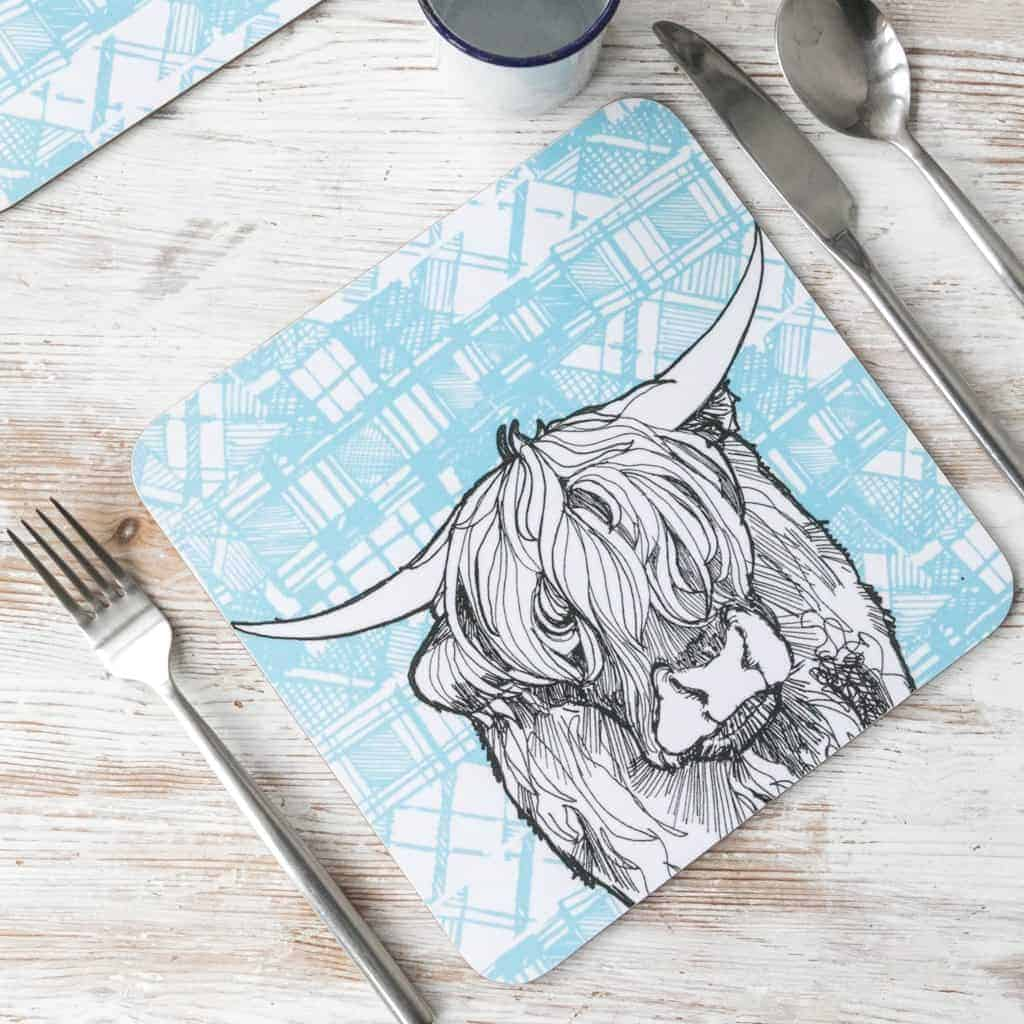 Gillian Kyle, Tartan Animals, Highland Coo tablemats with tartan background, Set of 2, Highland Cow