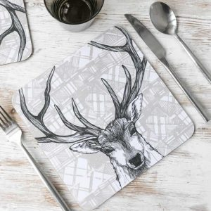 Scottish Stag placemats with tartan background by Gillian Kyle