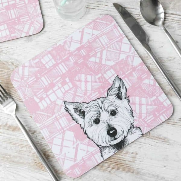 Gillian Kyle, Tartan Animals, Scottish Westie Placemats with tartan background, Set of 2, Scottish Westie