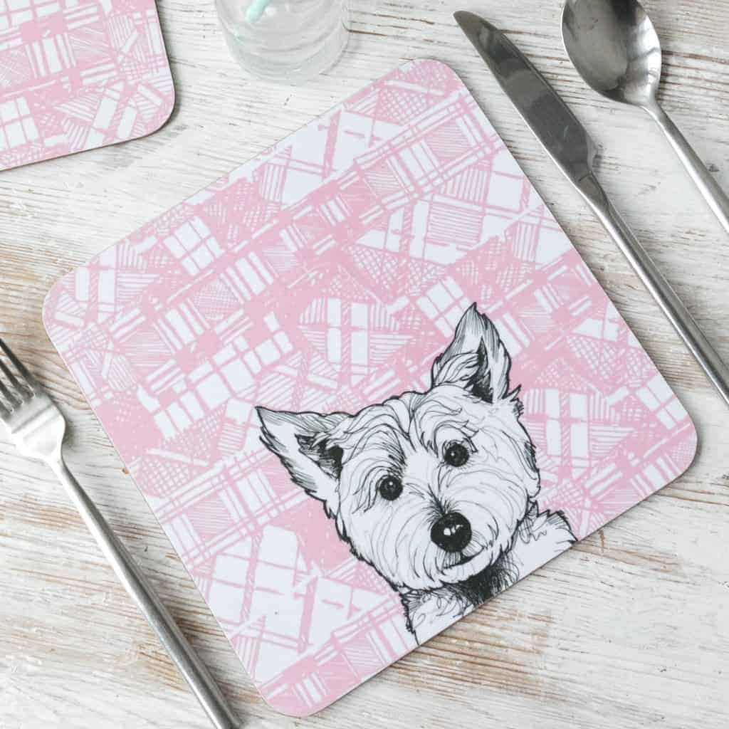 Gillian Kyle, Tartan Animals, Scottish Westie Placemats with tartan background, Set of 2, Scottish Westie