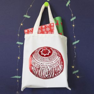 Canvas shopper tote bag with shiny Tunnock's Teacake print