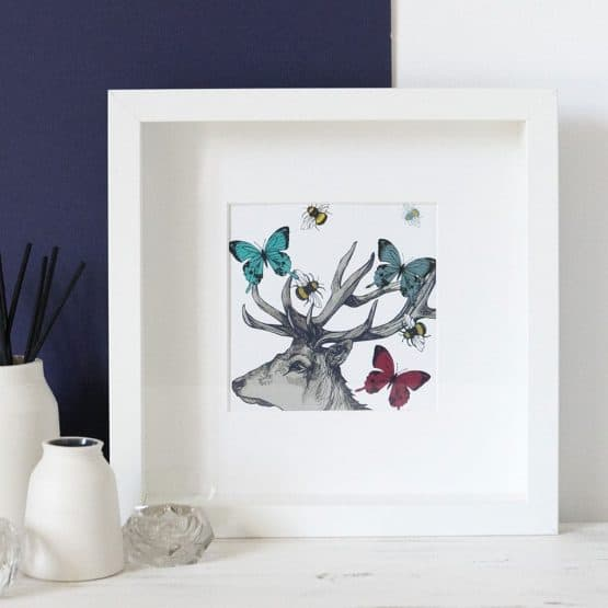 Stag and Butterflies print in frame by Gillian Kyle