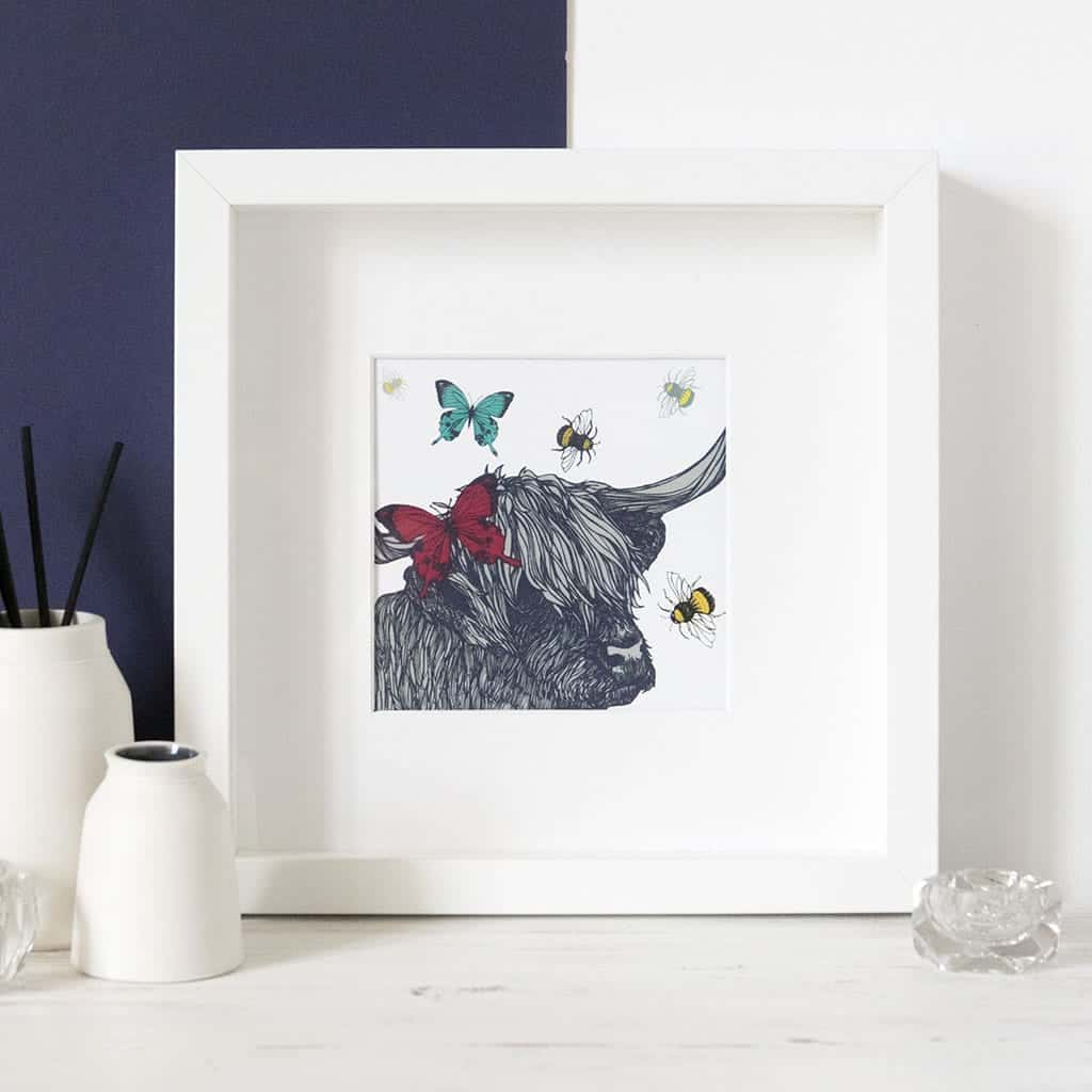 Highland Cow and Butterflies print in frame by Gillian Kyle