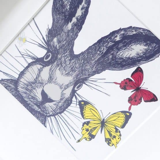 Hare and Butterflies print in frame by Gillian Kyle