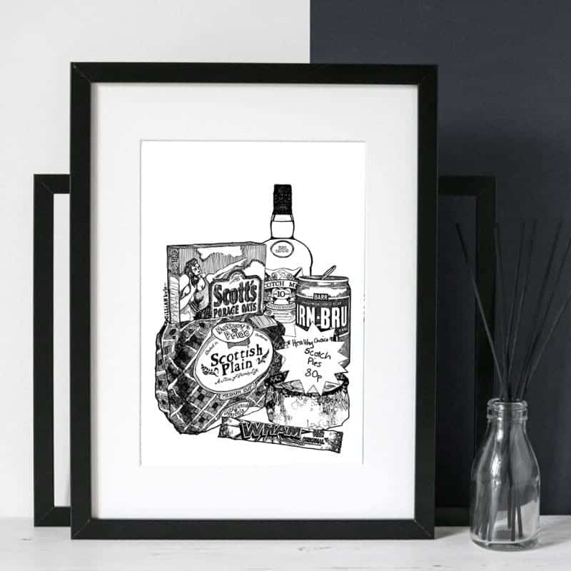 illustrative print featuring iron-bru, porridge and scotch pie by Gillian Kyle